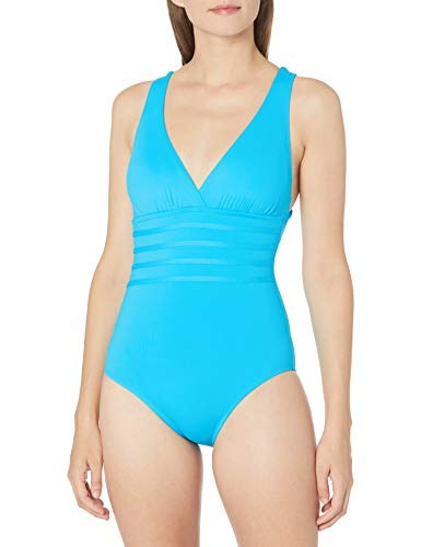 La Blanca Women's Island Goddess Rouched Front Bandeau One Piece Swimsuit, Poolside, 6