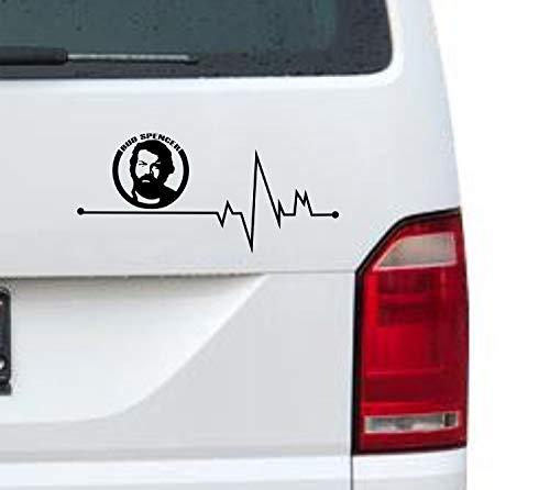 myrockshirt Herzschlag Typ2 Bud Spencer Logo Gesicht Portrait 20cm Aufkleber für Auto,Lack,Scheibe&Wand, Autoaufkleber Decal Sticker Profi-Qualität