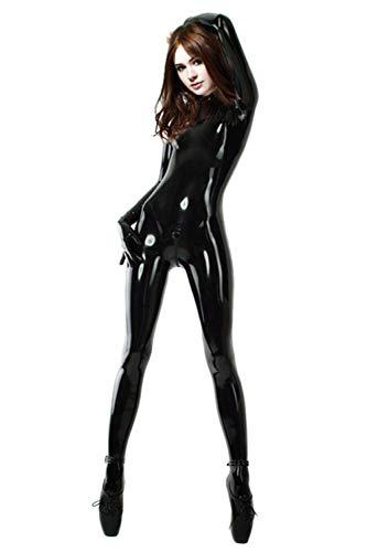 Fontoys-pants Leggins Fitnesshose Sexy Nude Color Damen Herren Latex Catsuits Strampler Transparent Mit Schritt Zip-Black_M