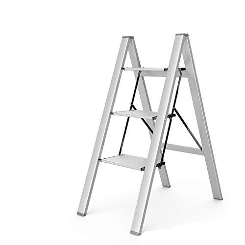 C-J-Xin Frivole Drei-Stufen-Leiter, Anti-Blockier-System Ultra-Thin-Stehleitern Mehrzweckleiter Mini Bücherregal Badezimmer Storage Rack Haushaltsleiter (Color : Silver, Size : 45 * 64.3 * 82cm)