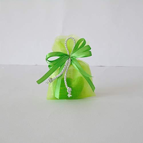 Nenè SACCHETTINO BOMBONIERA Segnaposto 18 Anni Compleanno con Cordoncino Semplice Confetti E BIGLIETTINO Verde