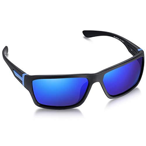 LZXC Gafas de Sol Polarizadas Para Hombre con Montura Ultraligera, Protección UV400 Para Conducir, Ciclismo (Marco Negro/Lente Azul Oscuro Espejado)