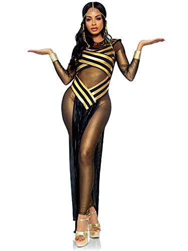 Leg Avenue Plus Size 3 Piece Nile Queen Catsuit Costume Set-Sexy Egyptian Halloween Dress Bodysuit with Headpiece for Women, Gold/Black, Medium