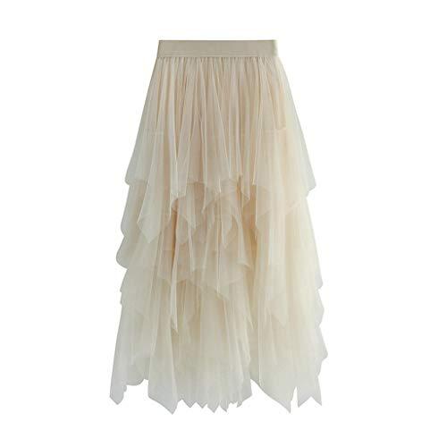 Julhold - Falda de Tul para Mujer (Cintura elstica, Longitud Media) A Beige. Talla nica
