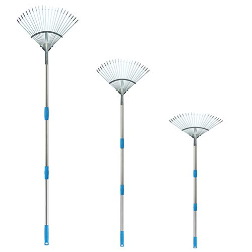 FLY HAWK Garden Rake Leaf 8 FT- rake Brush for Dogs rakes for Gardening Collect Loose Debris Among Delicate Plants, Lawns and Yards, Expandable Head from 4 FT to 8 FT Ideal Garden Rake Tools. (8 FT)