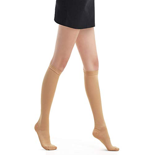 Fytto 1020 Opaque Compression Socks for Professionals 15-20 mmHg - Graduated Medical Support for Flight, Travel, DVT and Edema - Medium, Classic Nude