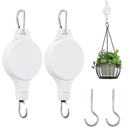 MEGXIT 2 Pack Adjustable Plant Pulley Hanger, Retractable Plant Hanger with 2PCS Metal Ceiling Plant Hooks, Adjustable Plant Hanger for Garden Hanging Basket Pots and Bird Feeder - White
