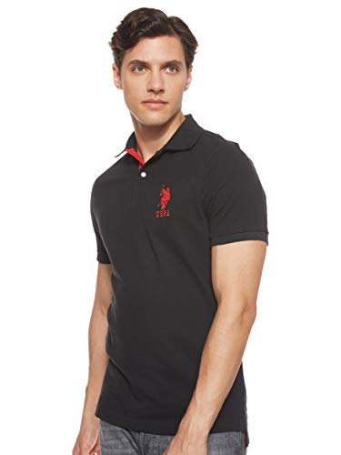 U.S. Polo Assn. Men's Slim Fit Solid Polo with Contrast Striped Underside Of Collar, Black, Large