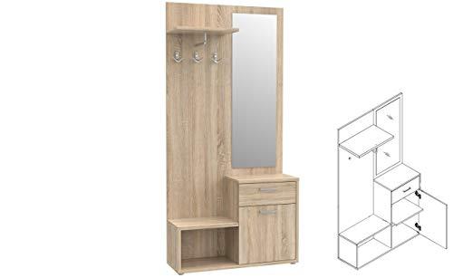 Garderobe NIKO NIKD03 Flurgarderobe, Flur, Dielengarderobe mit Tür, Spiegel, Schublade und 3 Kleiderhaken (Sonoma Eiche)
