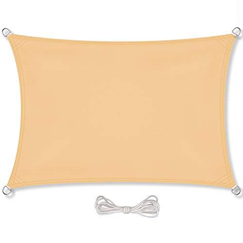 CelinaSun Sonnensegel inkl Befestigungsseile PES Polyester wasserabweisend imprägniert Rechteck 2 x 4 m Sand beige