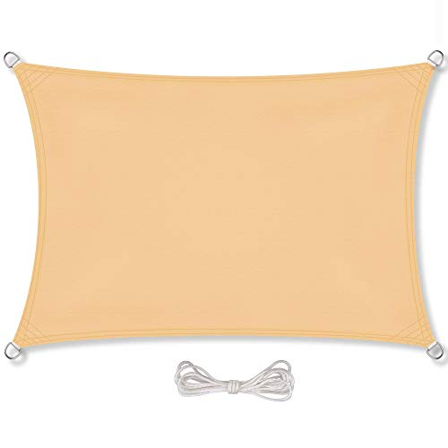 CelinaSun Sonnensegel inkl Befestigungsseile PES Polyester wasserabweisend imprägniert Rechteck