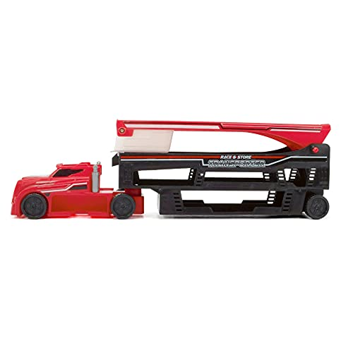 Dickie Toys 203747003 Race and Store Stack & Store Red Car Transporter with Exit Ramp, Launchpad & Space for 28 Vehicles