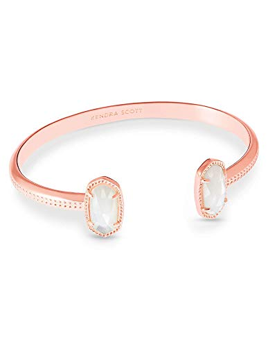 Kendra Scott Elton Cuff Bracelet for Women, Fashion Jewelry, 14k Rose Gold-Plated, Ivory Mother of Pearl
