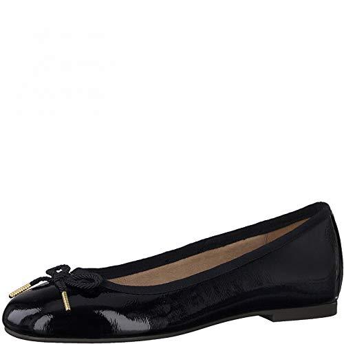 Tamaris Mujer Bailarinas, señora Bailarinas clásicas,Zapatos Bailarinas,Zapatos Planos,Zapatos del Verano,Elegante,en Lazo,Ocio,Black Patent,38EU/5UK