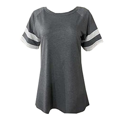 Camiseta Casual de Manga Corta con Cuello Redondo a Rayas de Primavera y Verano Top para Mujer