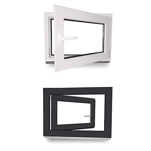 Preisvergleich Produktbild Kellerfenster - Kunststoff - Fenster - innen weiß / außen anthrazit - BxH: 90 x 50 cm - 900 x 500 mm - DIN Rechts - 3 fach Verglasung - 60 mm Profil