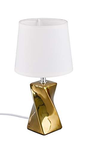 Reality Leuchten Tischleuchte Abeba R50771579, Fuß Keramik goldfarbig, Stoffschirm weiß, exkl. 1x E14