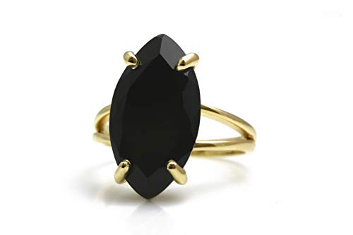 Classy Black Onyx Rings for Women by Anemone Jewelry - 14K Gold Black Onyx Cocktail Ring - Handcrafted Fine Jewelry - Versatile Fashion Jewelry for Women - Free Fancy Box