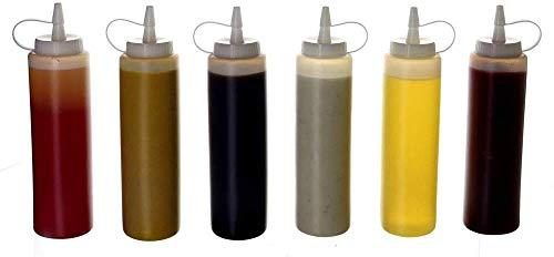 Plastic Squeeze Squirt Condiment Flesjes met Twist On Cap Deksels - top Dispenser voor Ketchup Mosterd Mayonaise hete sauzen Olijfolie - Bulk Clear bpa Gratis BBQ Set (ix Pack)