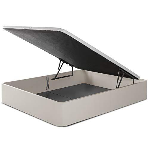 marckonfort Canapé abatible Space 150X190 tapizado con Piel sintética Color Piedra, Gran Capacidad 36 cm Altura Total y 29 cm Altura Interna