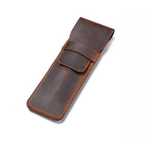 Daimay Estuche de cuero para bolígrafo Poseedor Fuente hecha a mano Bolsa de plumas múltiples Cuero de caballo loco Funda protectora de la pluma - marrón