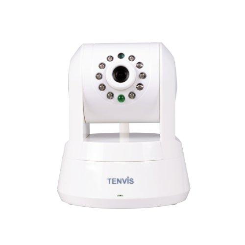 GARY&GHOST Tenvis Wireless IP Camera IPRobot3 720 HD (SD card fino a 32 GB) WiFi 10 IR LED 10 Metri Visione Notturna di rotazione 345° Controllo dal PC / Tablet / Cellulare, Sistemi Supporto Windows, iOS e Android, CE Approvato, 2 Way Audio, Support Pan Tilt Zoom, Rilevazione di Movimento Motion via E-mail o FTP Manuale Inglese (Bianco)