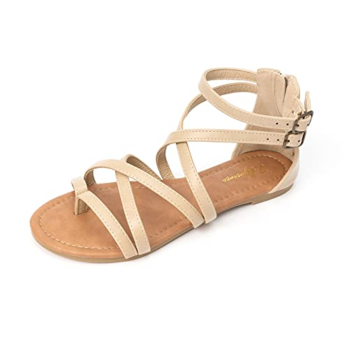 LUFFYMOMO Women's Gladiator Strap Sandals Flat Fisherman Thong...