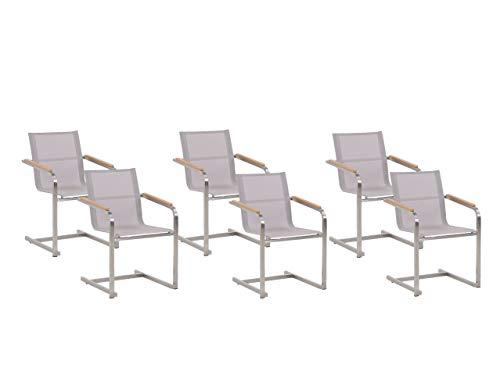 Gartenstuhl aus Edelstahl mit Textilene in Beige 6er Set Moderner Look Cosoleto