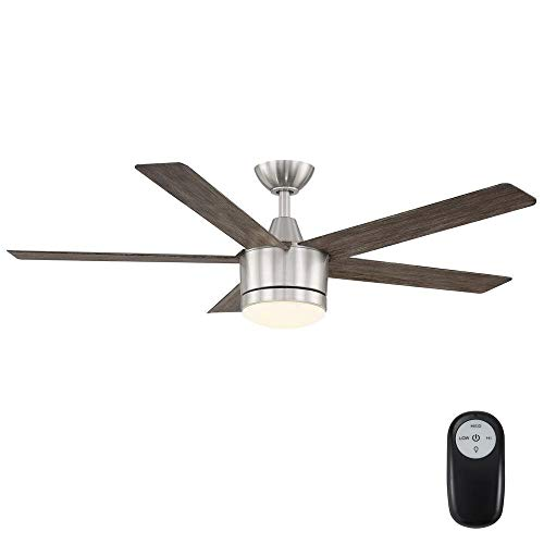 Home Decorators Collection Merwry 52 in. Integrated LED Indoor Brushed Nickel Ceiling Fan with Light Kit and Remote Control