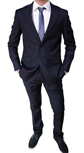 Mat Sartoriale Abito da Uomo Blu Scuro Completo Vestito Slim Fit Invernale (54)