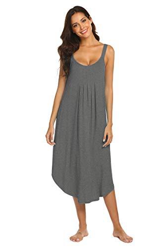 Ekouaer Women Sleeveless Long Nightgowns Chemise Nightgown Solid Sleep Dress Maternity Night Gown Sleepwear Nightshirt (Grey L)