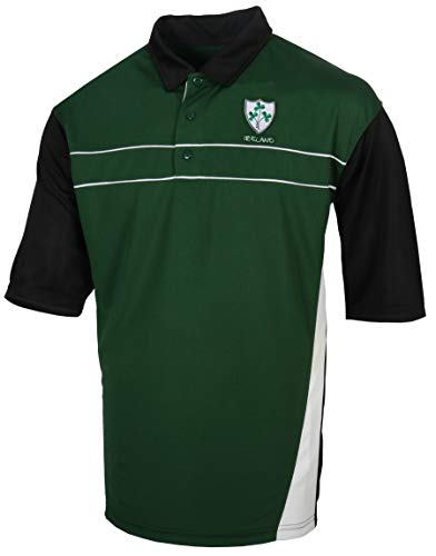 Shamrock Crest Breathlite Irish Rugby Jersey Polo Shirt (Dark Green, XXX-Large)