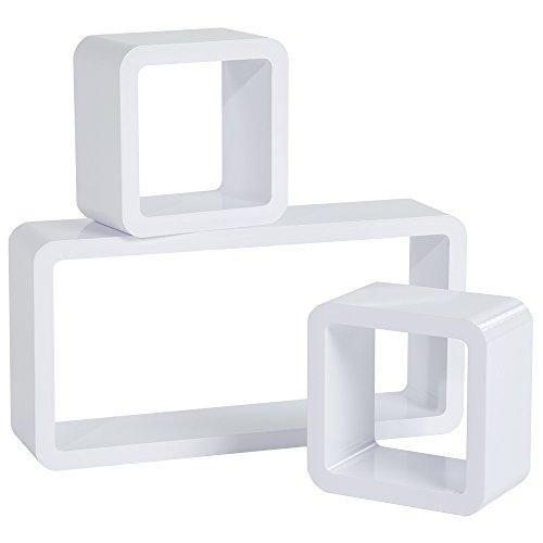 TecTake 800706 3er Set Wandregal Hängeregal im Retro Cube Design für Bücher CDs Deko, inkl. Montagematerial - Diverse Farben - (Weiß   Nr. 403191)
