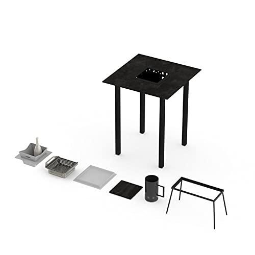 Mesa alta la Garrigue – Mesa de terraza – Mesa para cubitos de hielo – Mesa multifunción, estructura de aluminio termolacada, bandeja HPL, mesa exterior