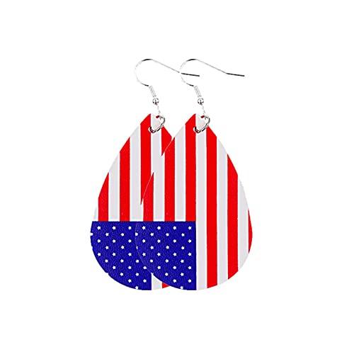 iBaste Pendientes de piel sintética para mujer, diseño de lágrimas con la bandera de los Estados Unidos