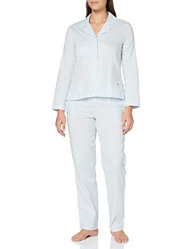 Seidensticker Damen Web lang Pyjamaset, blau, 36