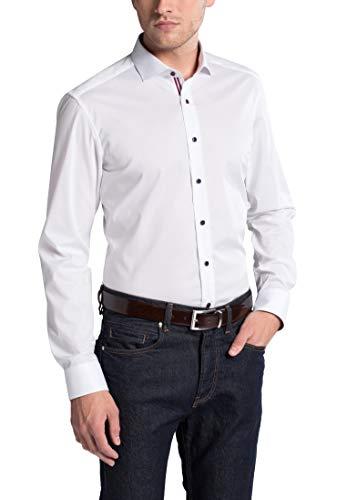 eterna Langarm Hemd Slim FIT Stretch unifarben, W41 Langarm, Weiß