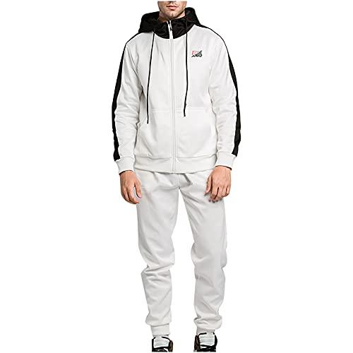 BGUK Chándal para hombre de manga larga, sudadera con capucha y pantalón de chándal de deporte, 2 unidades, Blanco, XL