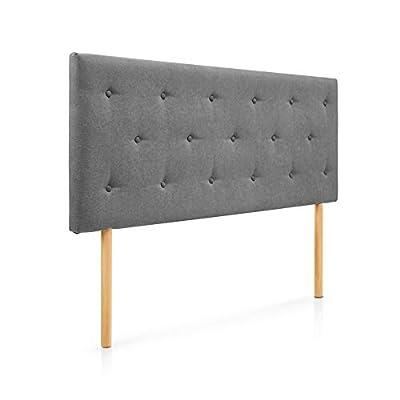 Cabecero tapizado acolchado para dormitorios con estructura en madera de pino Cabecero de cama acolchado con espumación HR Cabecero tapizado en tela antimanchas Para camas de 105 (115 x 100 cm) tela gris