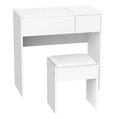 HOMCOM Coiffeuse Table de Maquillage Design Contemporain 80L x 40l x 79H cm Miroir escamotable, tiroir, Coffre + Tabouret Blanc