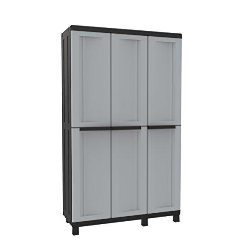 TERRY, Twist Black 102a, Armario Multifunción 3 Puertas con 2 Compartimentos Separados, Gris/Negro, 102x39x170 cm