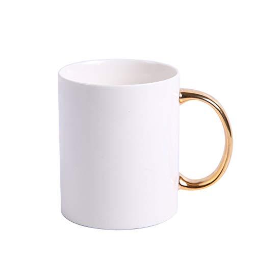 YOUZHA Mokken Gouden Handvat Wit Porselein Koffie Mok Boss Lady Mokken Thee Melk Kopjes en Mokken Ontbijt Cup Creatieve Drinkware Bruiloft Gift 400ml Kleur: wit