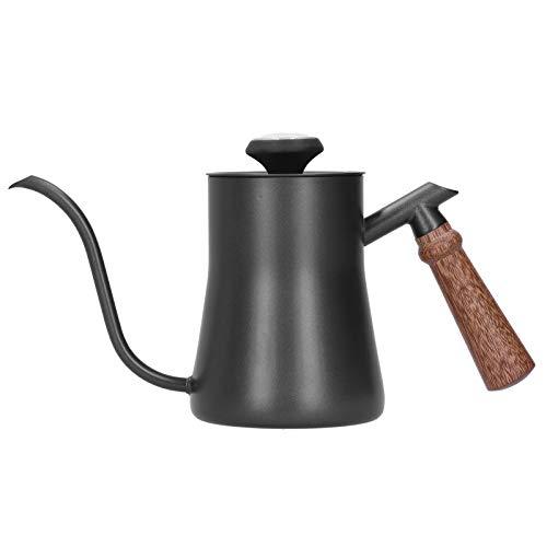 Hervidor de café con cuello de cisne, hervidor de café y hervidor de té de pico largo con termómetro y mango de madera antiescaldamiento, tapa interior y fondo de 100% acero inoxidable(Negro)