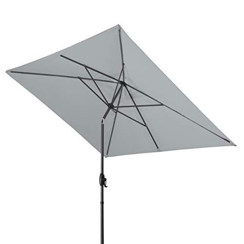 Derby Basic Lift NEO 250x200 – Rechteckiger Sonnenschirm – Höhenverstellbar – ca. 250x200 cm – Hellgrau
