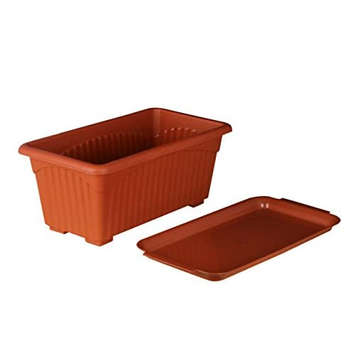 First Smart Plastic Rectangle Pot Set (Brown, Pack of 3)