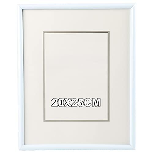 Marco de Fotos 20 x 25 cm Blanco Estilo Sencillo PVC Panel de Cristal Marco de Fotos para Decoración