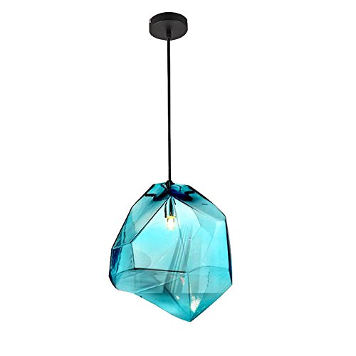 Stone Glass Shade Blue Pendant Light