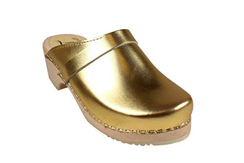 Lotta From Stockholm Swedish Classic Clog in Gold-36