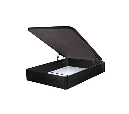 DHOME Canape Abatible Tapizado 3D Blanco y Negro con Apertura Normal o Lateral Esquinas Macizas de Haya canapé Madera (150x200 22mm, Negro)