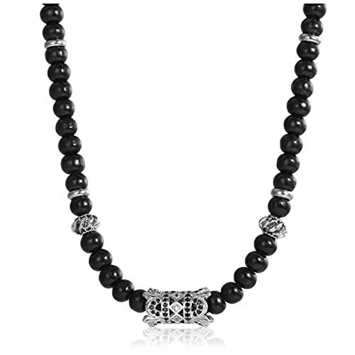 Gargantilla de cuentas de madera negra para hombre, collar con colgante de corona de circonita, cadena de eslabones ajustables, joyería, envío directo